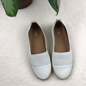 Clarks Artisan White Tan Perforated Woven Flats